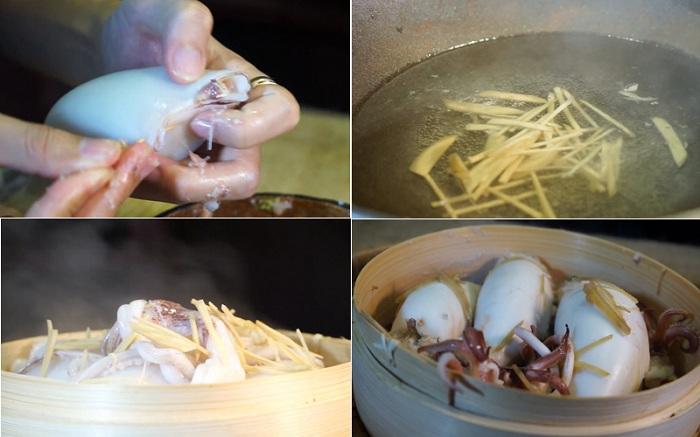 Cách làm món mực ống nhồi thịt hấp